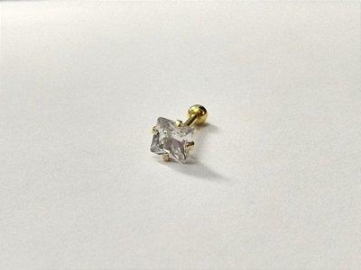 Piercing para Tragus/Helix - Pedra de 5mm - Folheado a Ouro