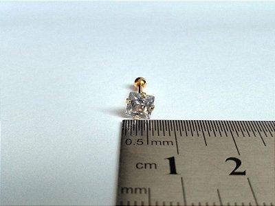 Pierncing para Tragus/Helix - Pedra de 5mm - Folheado a Ouro