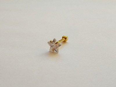 Piercing para Tragus/Helix - Estrela com pedra de 6mm - Folheado a Ouro