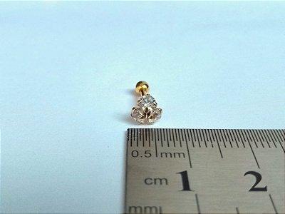 Pierncing para Tragus/Helix - 3 pedras de 3mm - Folheado a Ouro