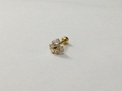 Piercing para Tragus/Helix - 3 pedras de 3mm - Folheado a Ouro