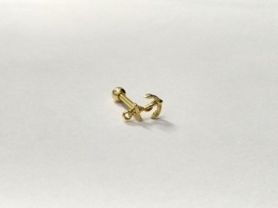 Pierncing para Tragus/Helix - Ancora - Folheado a Ouro