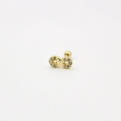 Pierncing para Tragus/Helix - Infinito G - Folheado a Ouro