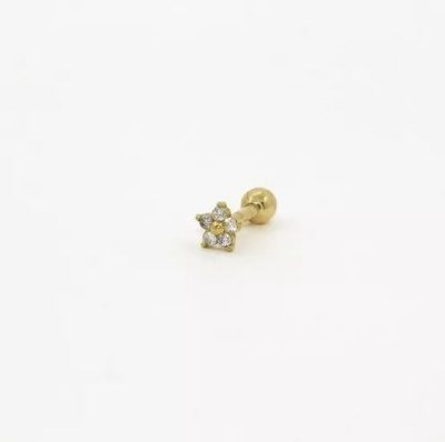 Piercing para Tragus/Helix - Flor - Folheado a Ouro
