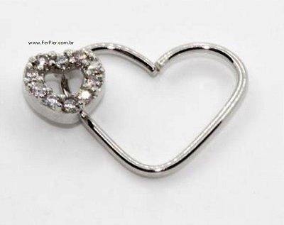 Pierncing - Coração aberto com coração cravejado - Prata
