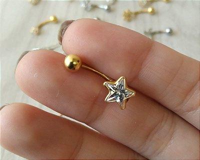 Piercing para o Umbigo Estrela - Folheado a Ouro - haste curta de 10mm