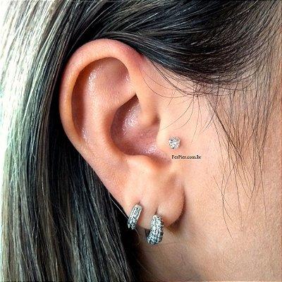 Piercing para Tragus/Orelha - Prata - pedra de 3mm