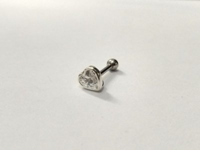 Piercing  em Prata para Orelha - Pedra de 4mm
