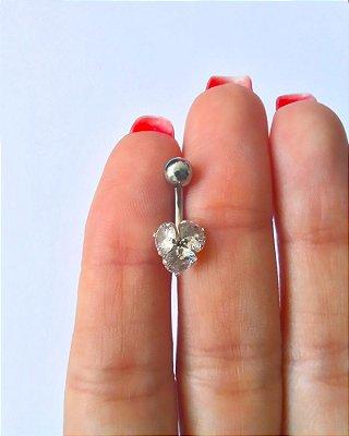 Piercing para Umbigo com 3 pedras G - Prata - haste curta de 10mm
