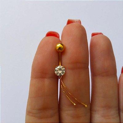 Piercing para o Umbigo - haste curta de 10mm - Folheado a Ouro
