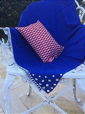 Kit Canga Greece Bordada e Travesseiro Red & White