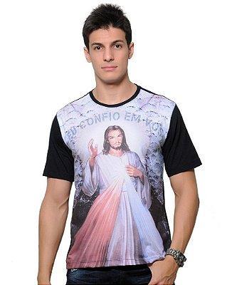 Camiseta Jesus Misericordioso: Eu confio em vós (Unissex) - Coleção Mundo Novo