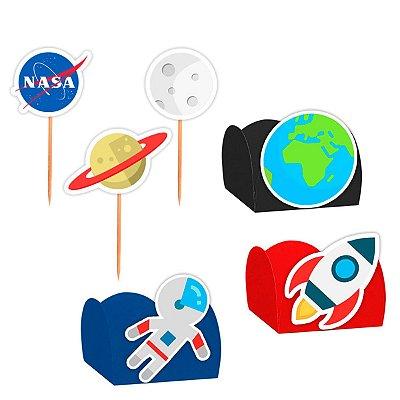 Kit Decoração Festa Astronauta - 100 Itens - Lembrafesta
