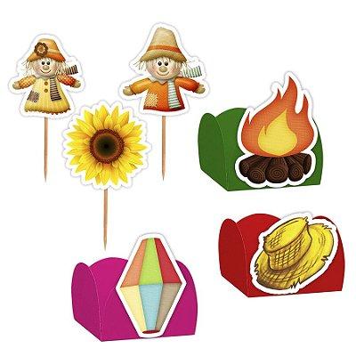 Kit Decoração Festa Junina - 100 Itens - Lembrafesta