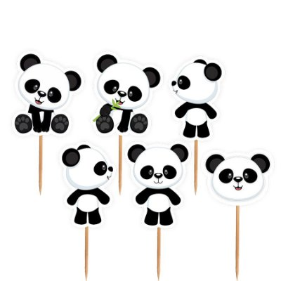 Topper para Docinhos Festa Panda - Sortido - 24 unidades - Lembrafesta