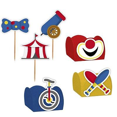 Kit Decoração Festa Circo - 100 Itens - Lembrafesta