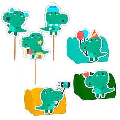 Kit Decoração Festa Dinossauro Baby - 100 Itens - Lembrafesta