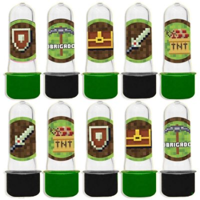 Mini Tubete para Lembrancinha Festa Minecraft - Sortida - 20 unidades - Lembrafesta