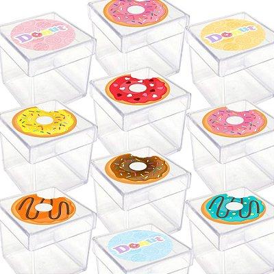 Caixinha Acrílica para Lembrancinha Festa Donuts - 20 Unidades - Lembrafesta