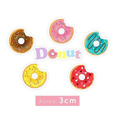 Apliques Decoração Festa Donuts sortidos - Aprox. 3cm - 24 Unidades