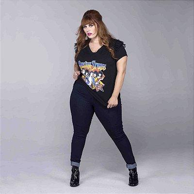Calça Jeans Skinny Cós Alto Plus Size
