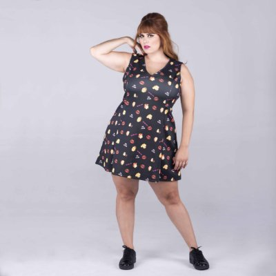 Vestido Rockabilly sem Manga - Plus Size
