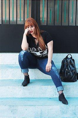Jeans Skinny Desfiado Plus Size