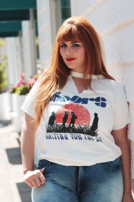 T-shirt Choker Suede The Doors Plus Size