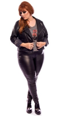 Calça Skinny Resinada Rocker Preta Plus Size