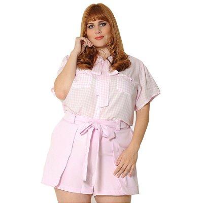 Camisa Plus Size Xadrez Vichy Rosa