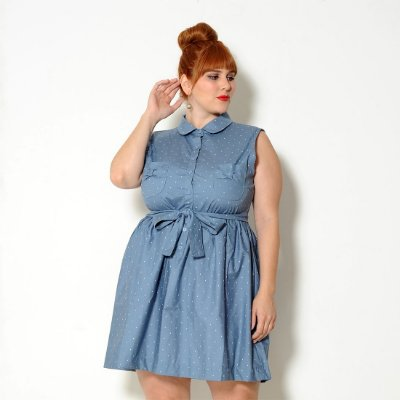 Vestido Plus Size Vintage Corações Azul Claro