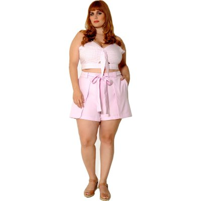 Cropped Plus Size Vichy Rosa