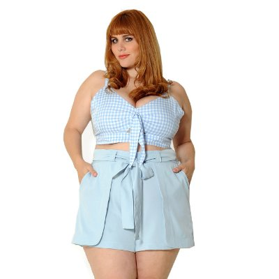 Cropped Plus Size Vichy Azul Claro