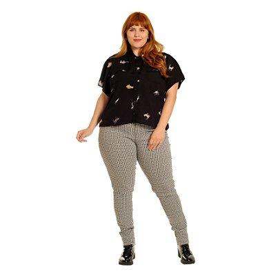 Camisa de Gatinhos Plus Size Preta