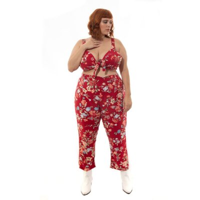 Cropped Floral Plus Size Vermelho