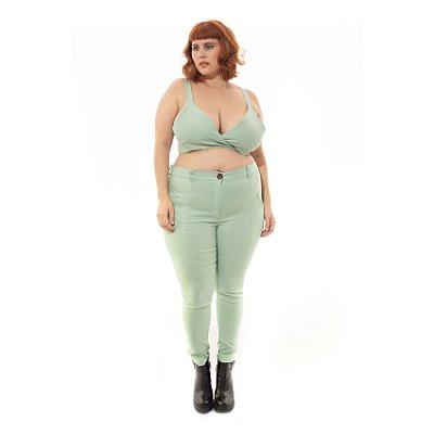 Cropped Verde Menta Plus Size com Argolas