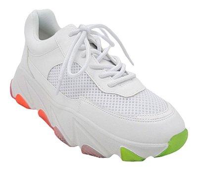 Tênis Feminino Chunky Sneaker Sola Colorida Plataforma Moda