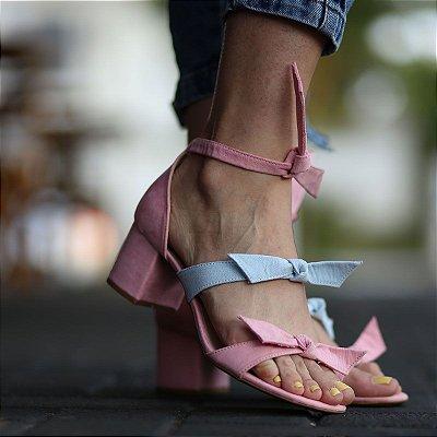 Sandália Feminina Salto Bloco Grosso Médio Laços Fashion
