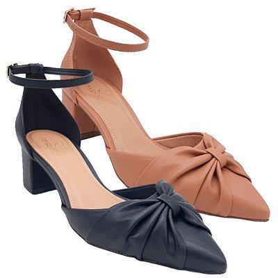 Sapato Scarpin Feminino Salto Médio Bloco Bico Fino Aberto