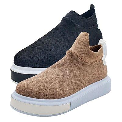 Tênis Meia Feminino Knit Sneaker Calce Fácil Slip On Tricô