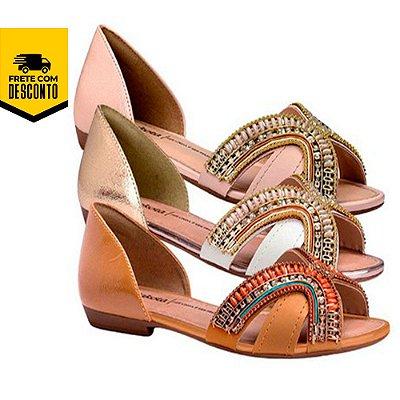 Sandália Rasteira Feminina Dakota Pedrarias Fashion Conforto