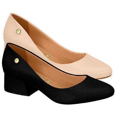 Sapato Scarpin Vizzano Bico Redondo Salto Médio Bloco Básico