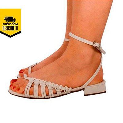 Sandália Salto Baixo Rasteira Amarração Nós Rasteirinha Moda