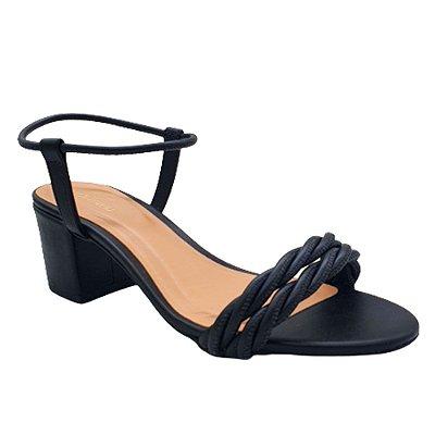 Sandália Feminina Salto Bloco Médio Tiras Confortável Moda