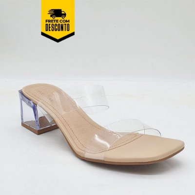 Tamanco Verona Salto Médio Acrílico Nanda Manu Fashion