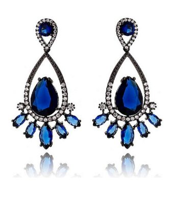 Brinco Blue Sapphire Crystal Drop Black Rhodium