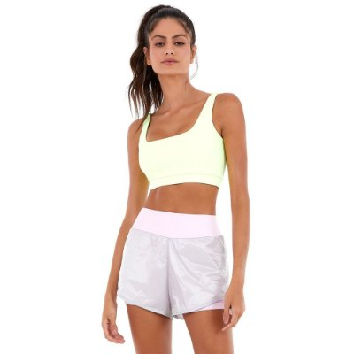 SHORTS PERFORMING AIR RECORTE LIME CINZA ICE - ALTOGIRO