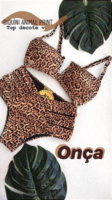 Biquíni Animal Print Onça Top V Cod: BQ159 - Ler Descrição