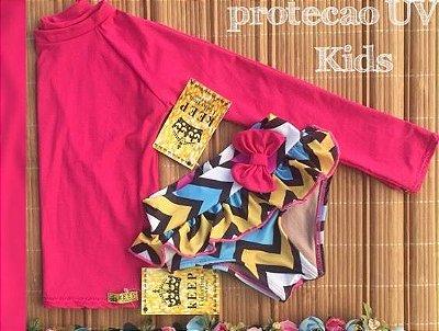 Camisa Proteção Uv + Calcinha + Tiara Cod:PUV 227 - Ler Descrição