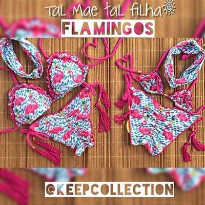 9615d2dc3 Biquínis Tal Mãe Tal Filha Riplle PomPom Flamingos C  Vassourinhas Cod   MFA70 -
